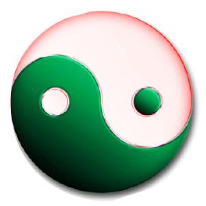 Symbole dynamique du Tao avec yin, yang et... vide médian